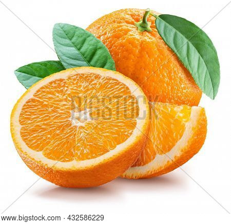 Orange fruits and orange slice with green leaves on white background.    Maximum depth of field across the entire image field. File contains clipping path.
