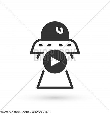 Grey Science Fiction Icon Isolated On White Background. Sci Fi Movies, Popular Futuristic Fantasy Fi