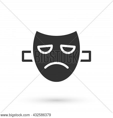 Grey Drama Theatrical Mask Icon Isolated On White Background. Vector