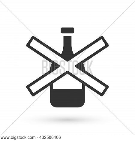 Grey No Alcohol Icon Isolated On White Background. Prohibiting Alcohol Beverages. Forbidden Symbol W