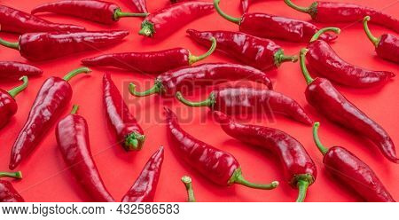 Lot of fresh red chilli peppers isolated on red background.