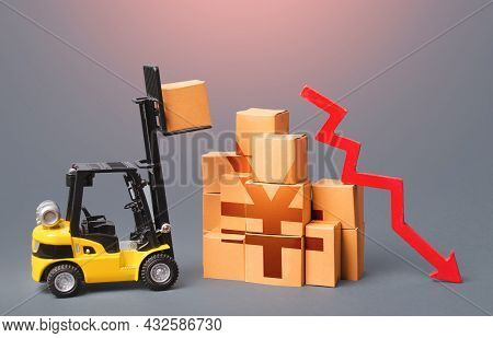Goods Boxes With Chinese Yen Or Japanese Yuan Symbol And Red Down Arrow. Trade And Transport Industr
