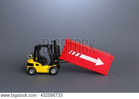 Forklift And Sea Ship Container. Data Analysis And Statistics Of Freight Traffic. Trade Balance, Imp