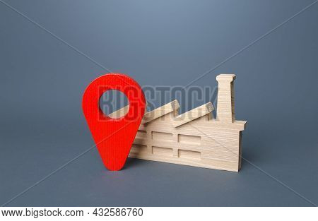 Industrial Plant And Red Location Pin. Domestic Manufacturer Factory. Concept Of The Location Of Pro