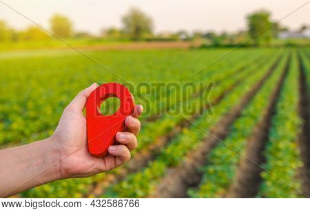 Red Location Pin On Farm Field. Buying And Selling Land. Land Market. Plot Boundary Demarcation Serv