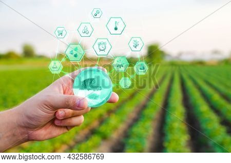 Holding A Globe With Innovations On Farm Field Background. Use Of Innovative Technologies In Agricul