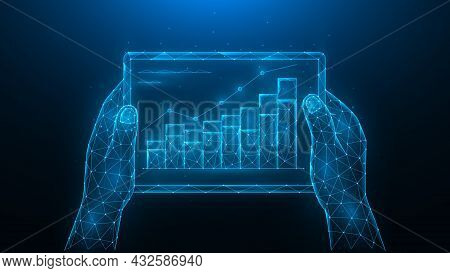 Hands Hold A Tablet With A Graph Of Increase. Growth Of Investment, Increase In Sales. Analyzing Of