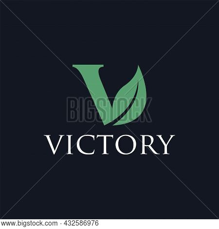 V Leaf Eco Minimalist Logo Design Vector