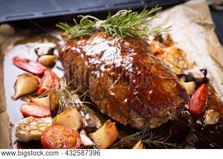 Roasted and smoked pork neck or shoulder, american cuisine classic