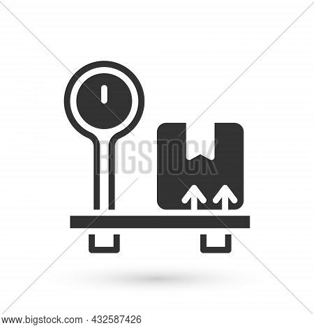 Grey Scale With Cardboard Box Icon Isolated On White Background. Logistic And Delivery. Weight Of De