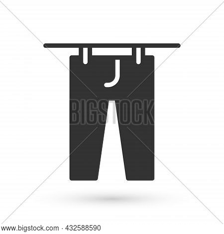 Grey Drying Clothes Icon Isolated On White Background. Clean Pants. Wash Clothes On A Rope With Clot