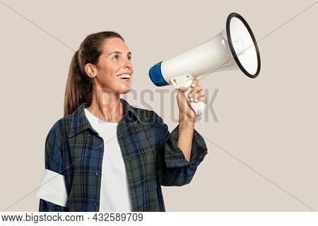 Female activist with a megaphone with design space