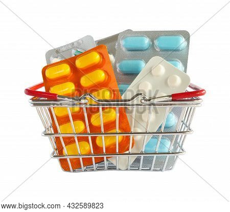 Medicine Pills Package In Shopping Basket Isolated On White Background