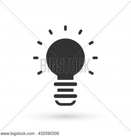 Grey Creative Lamp Light Idea Icon Isolated On White Background. Concept Ideas Inspiration, Inventio