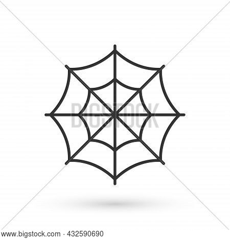Grey Spider Web Icon Isolated On White Background. Cobweb Sign. Happy Halloween Party. Vector