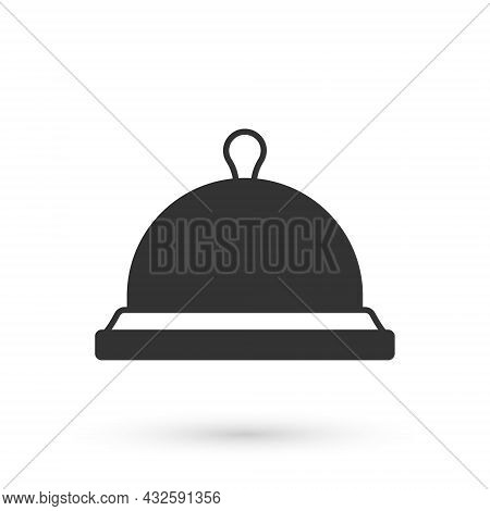 Grey Covered With A Tray Of Food Icon Isolated On White Background. Tray And Lid Sign. Restaurant Cl