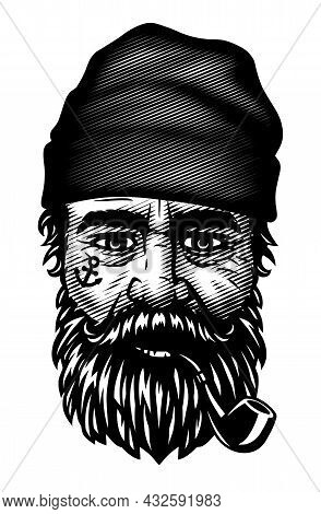 Sailor With A Beard And A Smoking Pipe. Vector Illustration.