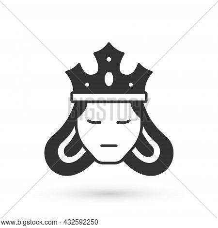 Grey Princess Or Queen Wearing Her Crown Icon Isolated On White Background. Medieval Lady. Vector