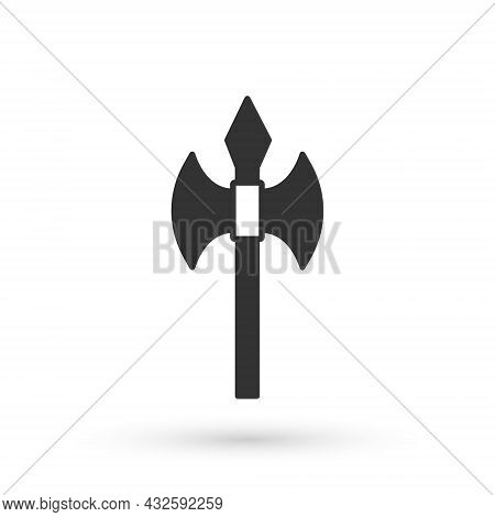 Grey Medieval Axe Icon Isolated On White Background. Battle Axe, Executioner Axe. Medieval Weapon. V