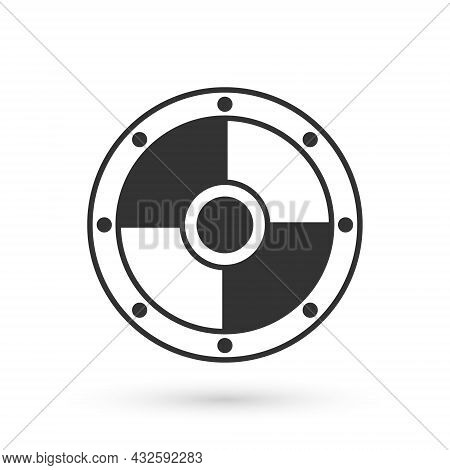 Grey Round Wooden Shield Icon Isolated On White Background. Security, Safety, Protection, Privacy, G