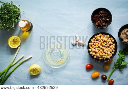 Chickpeas and young sunflower vegetable in the kitchen