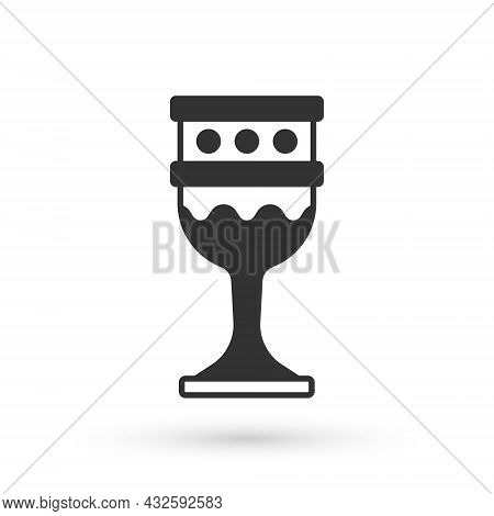 Grey Medieval Goblet Icon Isolated On White Background. Holy Grail. Vector