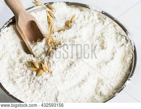 Closeup of all-purpose flour photo