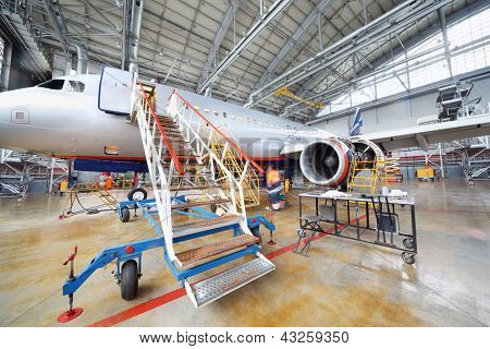 MOSCOW - SEP 22: Repairing Airbus Aeroflot in hangar of Sheremetyevo airport on Sep 22, 2011 in Moscow, Russia. Cabin crew uniforms Aeroflot recognized as most stylish in Europe.