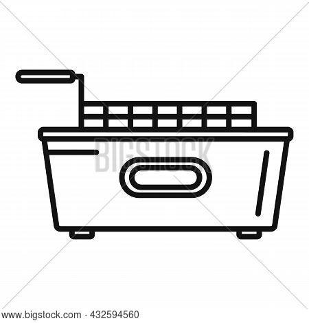 Kitchen Fry Machine Icon Outline Vector. Deep Fryer. Oil Basket