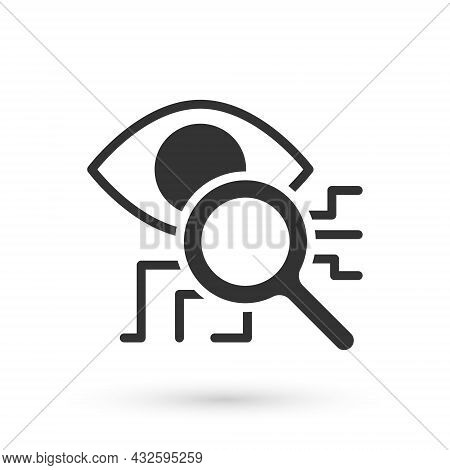 Grey Eye Scan Icon Isolated On White Background. Retinal Scan. Scanning Eye. Security Check Symbol.