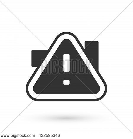 Grey Exclamation Mark In Triangle Icon Isolated On White Background. Hazard Warning Sign, Careful, A