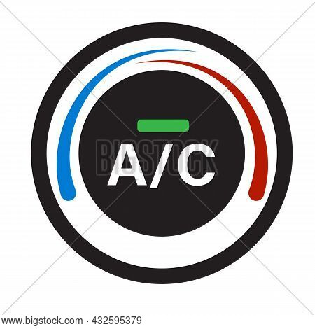 Car Air Condition Button On White Background. Air Conditioner Control Sign. Cold And Warm Symbol. Fl