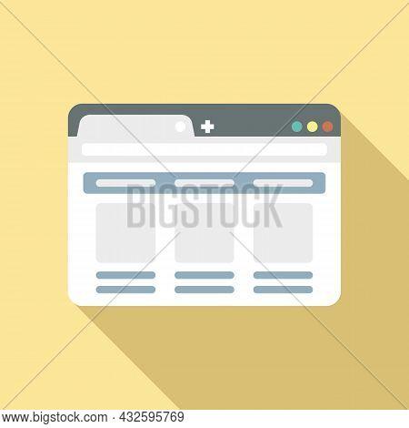 Desktop Browser Icon Flat Vector. Internet Computer. Bar Frame
