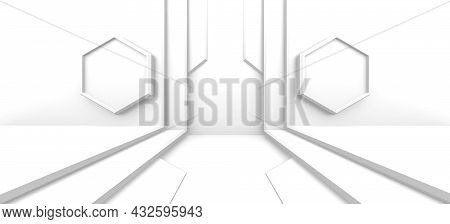 Abstract Architecture Design. Interior Concept. Minimal Modern Background Or Modern Hall Wallpaper.