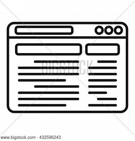 Webpage Browser Icon Outline Vector. Computer Window. Page Desktop