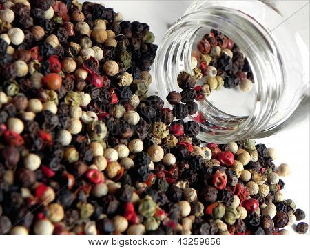Large number of multicolored pepper grains dropped from the small jar made of glass poster