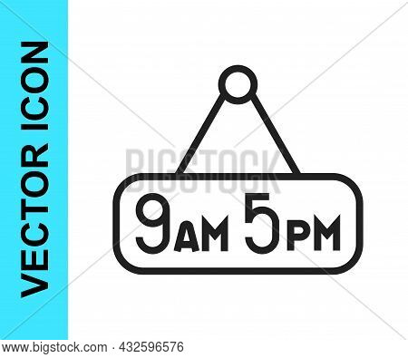 Black Line From 9 To 5 Job Icon Isolated On White Background. Concept Meaning Work Time Schedule Dai