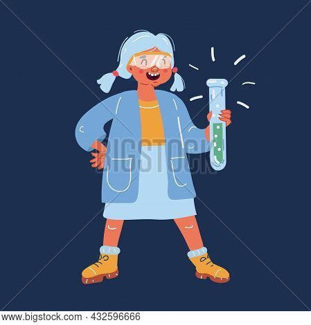 Vector Illustration Of Students In A Science Class Working On A Science Project. Girl In School