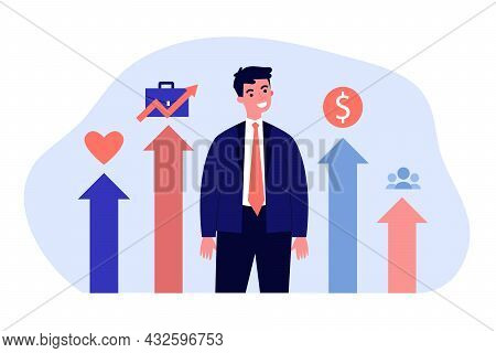 Young Businessman Succeeding In All Areas Of His Life. Flat Vector Illustration. Man Standing In Gra