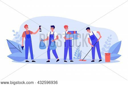 Male Cartoon Cleaners In Uniform Cleaning House Or Office. Men Taking Out Trash, Mopping Floor Flat