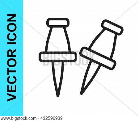 Black Line Push Pin Icon Isolated On White Background. Thumbtacks Sign. Vector