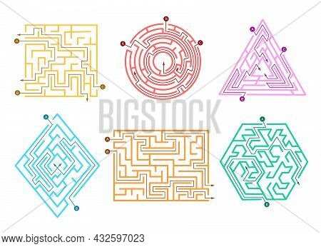 Set Of Colorful Labyrinths Cartoon Vector Illustration. Abstract Puzzles, Paths With Wrong Direction