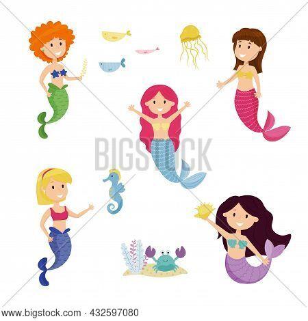 Big Marine Set Of Vector Illustration On The Marine Theme. Collection Of Sea Animals In Cartoon Styl
