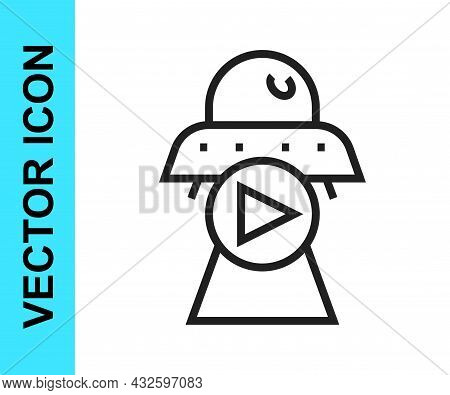 Black Line Science Fiction Icon Isolated On White Background. Sci Fi Movies, Popular Futuristic Fant