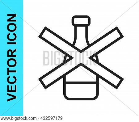 Black Line No Alcohol Icon Isolated On White Background. Prohibiting Alcohol Beverages. Forbidden Sy
