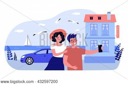 Cartoon Couple Taking Selfie Together In Front Of Hotel. Boyfriend And Girlfriend Taking Photo On Ph