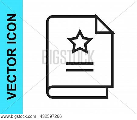 Black Line Scenario Icon Isolated On White Background. Script Reading Concept For Art Project, Films