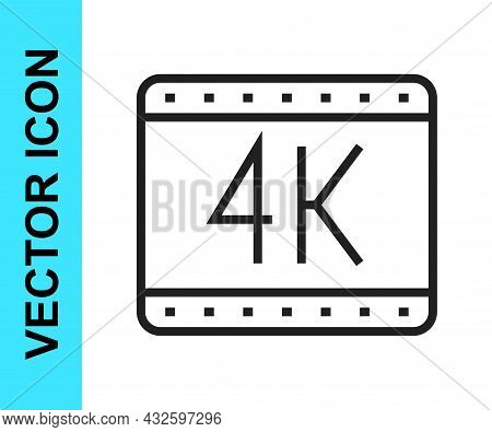 Black Line 4k Movie, Tape, Frame Icon Isolated On White Background. Vector