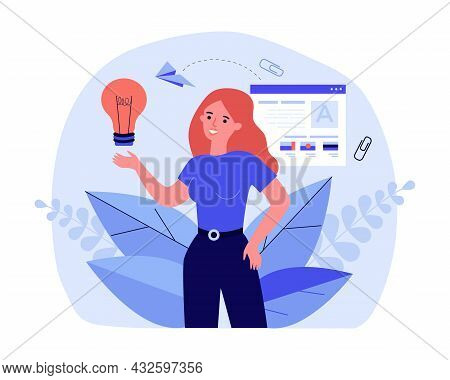 Creative Girl Full Of Ideas Searching For Job. Flat Vector Illustration. Woman Holding Light Bulb Wi