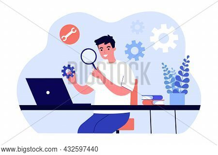 Young Technician Examining Settings Flat Vector Illustration. Man Analyzing Gears While Sitting In F